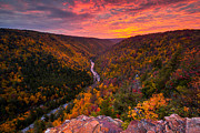 West Virginia Landscape Posters - Autumn Sunset from Pendleton Point Poster by Joseph Rossbach