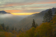 Gatlinburg Tennessee Prints - Autumn Sunset in the Smokies Print by Yoder Images