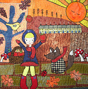 Girl Tapestries - Textiles Posters - Autumn Sunset Poster by Julie Bull