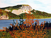 Colors Of Autumn Painting Prints - Autumn Sunset on the Hills Print by Barbara Griffin