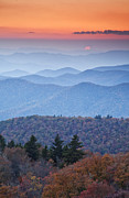Western North Carolina Prints - Autumn Sunset on the Parkway Print by Rob Travis