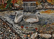 Swans... Paintings - Autumn Swans by Emily Michaud
