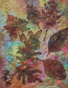 Fallen Leaf Mixed Media Posters - Autumn Symphony Poster by Ellen Levinson