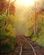 Train Tracks Painting Framed Prints - Autumn Tracks Framed Print by Laura Brown