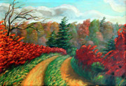Original Fall Landscape Paintings - Autumn Trail by Otto Werner