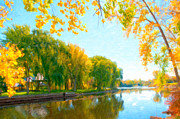 Park Scene Paintings - Autumn tree and river  by Lanjee Chee