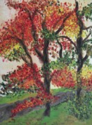 Molleur Posters - Autumn Tree in the Front Yard Poster by Suzanne  Marie Leclair
