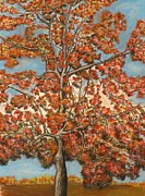 Michael Pastels Posters - Autumn Tree Poster by Michael Anthony Edwards