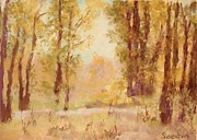 Autumn Scenes Pastels Prints - Autumn Trees Print by Barbara Smeaton