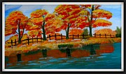 Reflection In Water Drawings Framed Prints - Autumn Trees Framed Print by Vijai Coimbatore natarajan
