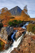 John Kelly Prints - Autumn View of Buachaille Etive Mor and River Coupall near Glencoe in Scotland Print by John Kelly