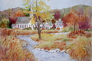 New England Village  Paintings - Autumn Village by Sherri Crabtree