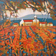 Calistoga Painting Posters - Autumn Vineyard Poster by Kip Decker