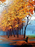 Landscape Digital Paintings - Autumn Walk by James Shepherd