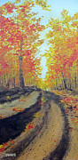 Autumn Trees Drawings Posters - Autumn Walks Poster by Tina McCurdy