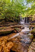 Scenic Digital Art Prints - Autumn Waterfall Print by Adrian Evans