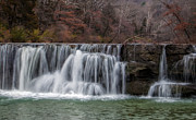 Natural Dam Arkansas Posters - Autumn Waterfall Poster by James Barber