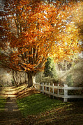 Fencing Photo Framed Prints - Autumn - Westfield NJ - I love autumn Framed Print by Mike Savad