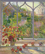 Window Frame Framed Prints - Autumn Windows Framed Print by Timothy  Easton