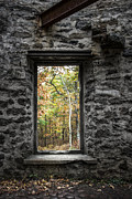 Historic Ruins Framed Prints - Autumn within Cunningham Tower - Historical Ruins Framed Print by Gary Heller