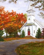 Churches Painting Originals - Autumn Worship by Deborah Butts