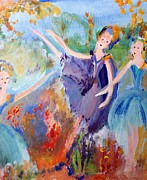 Ballet Dancers Paintings - Autumnal Ballet by Judith Desrosiers