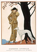 Autumn Landscape Painting Framed Prints - Autumnal Symphony afternoon coat and dress by Worth Framed Print by Georges Barbier