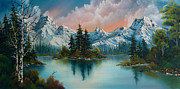 Mountain Pine Tree Painting Framed Prints - Autumns Glow Framed Print by C Steele