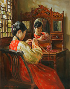 China Painting Framed Prints - Autumns mood Framed Print by Victoria Kharchenko