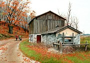 Old Barn Painting Posters - Autumns Past Time  Poster by Michael Swanson