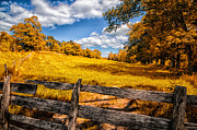 Wooden Fence Prints - Autumns Pasture Print by Bob Orsillo