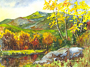 Autumn Trees Drawings Prints - Autumns Showpiece Print by Carol Wisniewski