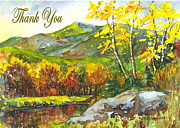 Mountain Scene Drawings Prints - Autumns Showpiece Thank You Print by Carol Wisniewski