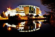 Michael Cross Metal Prints - Autzen at Night Metal Print by Michael Cross