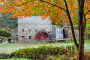 Wayside Inn Grist Mill Framed Prints - Auutmn at the Grist Mill Framed Print by Michael Blanchette