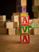 Ava Framed Prints - AVA - Alphabet Blocks Framed Print by Edward Fielding