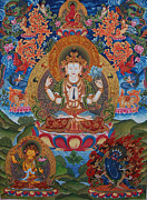 Tibetan Buddhism Paintings - Avalokitesvara the Great Compassionate One by Art School