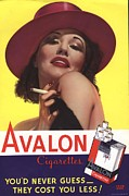 Vintage Posters - Avalon 1930s Usa Glamour Cigarettes Poster by The Advertising Archives