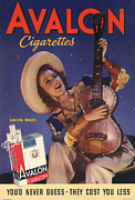 Smoking Drawings Posters - Avalon 1940s Usa Cigarettes Smoking Poster by The Advertising Archives