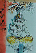 Ganapathi Paintings - Avaneesh Lord of the whole World Ganesha by Ajay Kumar Samir