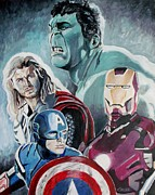 Hulk Painting Framed Prints - Avengers Framed Print by Jeremy Moore