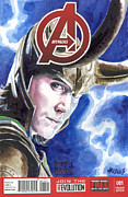 Avengers Painting Originals - Avengers Loki by Ken Meyer jr