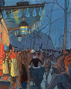 Evening Light Pastels Prints - Avenue de Clichy Paris Print by Louis Anquetin