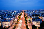 Champs Elysees Framed Prints - Avenue des Champs Elysees in Paris Framed Print by Michal Bednarek