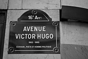 White Frame House Framed Prints - Avenue Victor Hugo Paris Road Sign Framed Print by Georgia Fowler