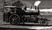 Greyhound Photos - AVERY SAWMILL SPECIAL VINTAGE STEAM ENGINE B and W by F Leblanc