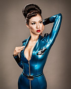 Fetish Photography Posters - Aviator Vixen 1176 - Science Fiction Pinup girl Poster by Gary Heller