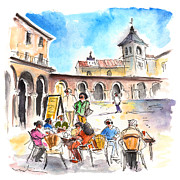 Town Square Drawings Prints - Avila 05 Print by Miki De Goodaboom