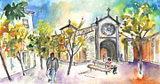 Town Square Drawings Prints - Avila 06 Print by Miki De Goodaboom