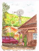 Urban  Drawings Paintings - Avila Valley Farm in Avila Beach - California by Carlos G Groppa